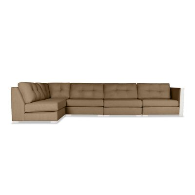 Steffi Buttoned Left L-Shape Modular Sectional Upholstery: Brown
