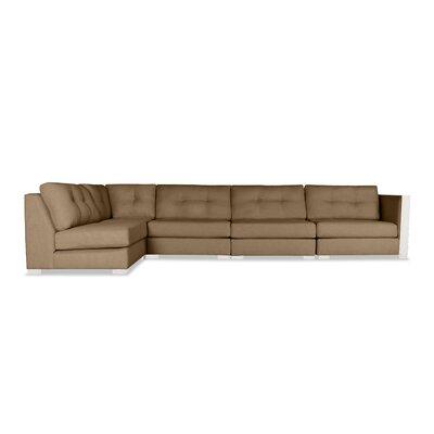 Steffi Buttoned Left L-Shape Modular Sectional Upholstery: Brown