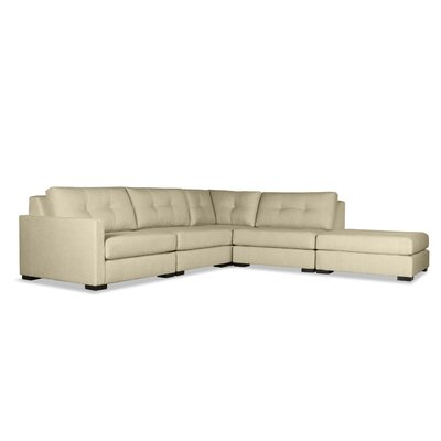 Secrest Buttoned L-Shape Modular Sectional with Ottoman Upholstery: Sand, Orientation: Left Hand Facing