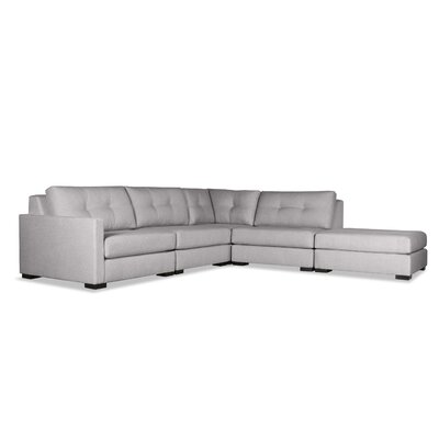 Secrest Buttoned L-Shape Modular Sectional with Ottoman Upholstery: Gray, Orientation: Left Hand Facing
