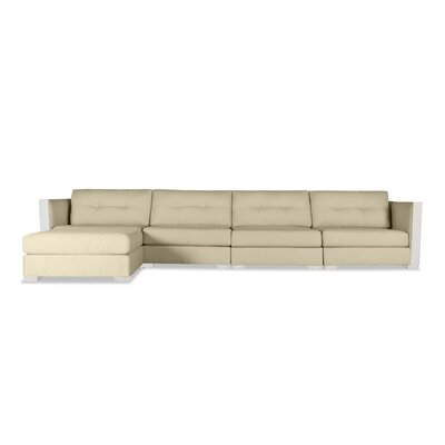 Steffi Buttoned Chaise Modular Sectional Upholstery: Sand, Orientation: Left Hand Facing