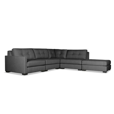 Secrest Buttoned L-Shape Modular Sectional with Ottoman Upholstery: Charcoal, Orientation: Left Hand Facing