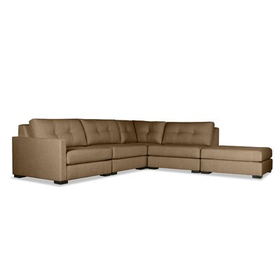 Secrest Buttoned L-Shape Modular Sectional with Ottoman Upholstery: Brown, Orientation: Left Hand Facing