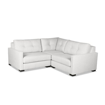 Secrest Buttoned L-Shape Mini Modular Sectional Upholstery: White
