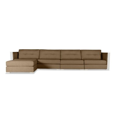 Steffi Buttoned Chaise Modular Sectional Upholstery: Brown, Orientation: Left Hand Facing