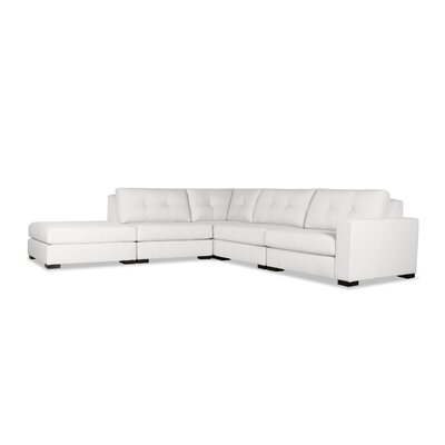 Brose Buttoned Modular Sectional with Ottoman Upholstery: White, Orientation: Right Hand Facing