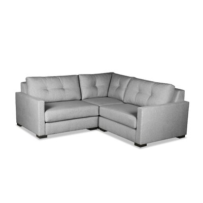 Secrest Buttoned L-Shape Mini Modular Sectional Upholstery: Gray