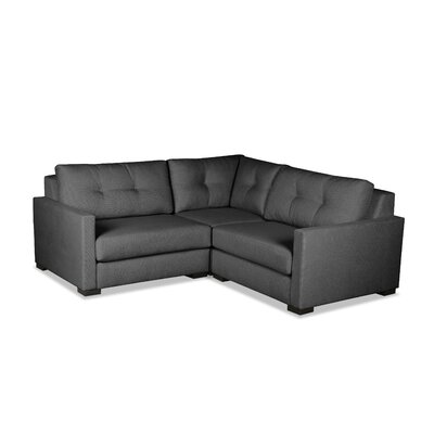 Secrest Buttoned L-Shape Mini Modular Sectional Upholstery: Charcoal