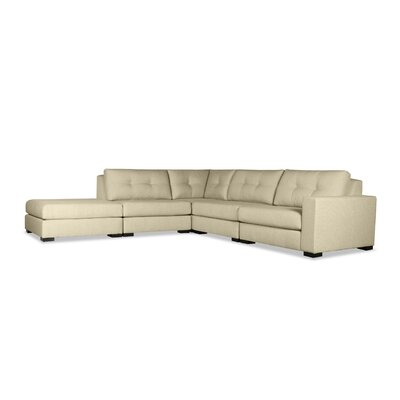 Brose Buttoned Modular Sectional with Ottoman Upholstery: Sand, Orientation: Right Hand Facing
