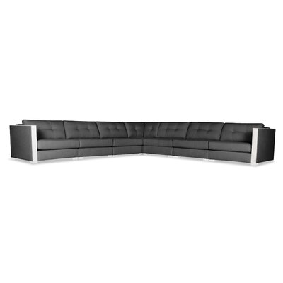Steffi Buttoned Right and Left Arms L-Shape Modular Sectional Upholstery: Charcoal