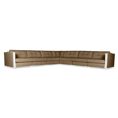 Steffi Buttoned Right and Left Arms L-Shape Modular Sectional Upholstery: Brown