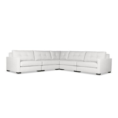 Secrest Buttoned Right and Left Arms L-Shape Standard Modular Sectional Upholstery: White
