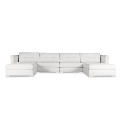 Steffi Buttoned U-Shape Double Chase Modular Sectional Upholstery: White