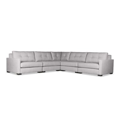 Secrest Buttoned Right and Left Arms L-Shape Standard Modular Sectional Upholstery: Gray