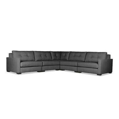 Secrest Buttoned Right and Left Arms L-Shape Standard Modular Sectional Upholstery: Charcoal