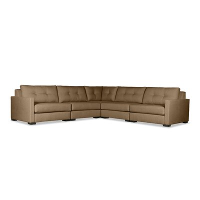 Secrest Buttoned Right and Left Arms L-Shape Standard Modular Sectional Upholstery: Brown