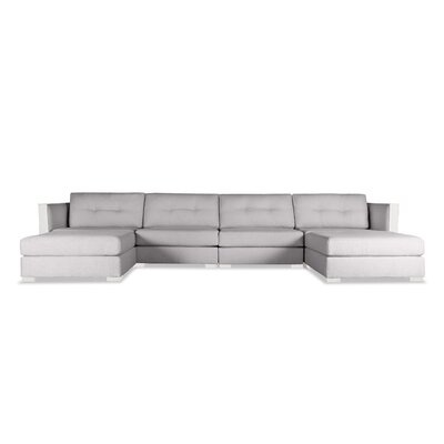 Steffi Buttoned U-Shape Double Chase Modular Sectional Upholstery: Gray