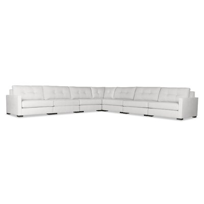 Secrest Buttoned Right and Left Arms L-Shape Modular Sectional Upholstery: White