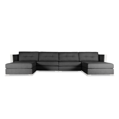 Steffi Buttoned U-Shape Double Chase Modular Sectional Upholstery: Charcoal