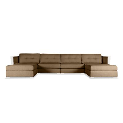 Steffi Buttoned U-Shape Double Chase Modular Sectional Upholstery: Brown