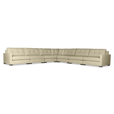 Secrest Buttoned Right and Left Arms L-Shape Modular Sectional Upholstery: Sand