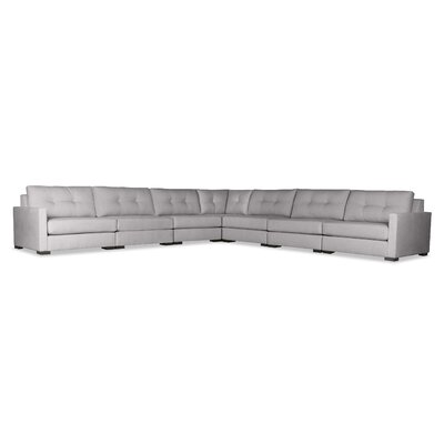 Secrest Buttoned Right and Left Arms L-Shape Modular Sectional Upholstery: Gray