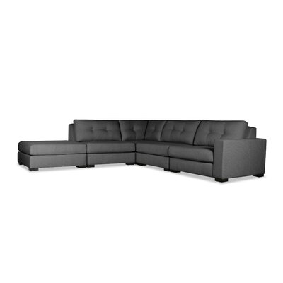 Brose Buttoned Modular Sectional with Ottoman Upholstery: Charcoal, Orientation: Right Hand Facing