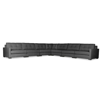 Secrest Buttoned Right and Left Arms L-Shape Modular Sectional Upholstery: Charcoal