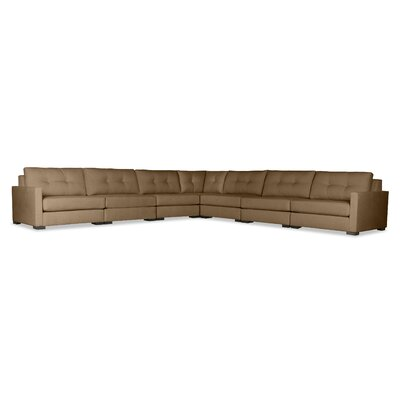 Secrest Buttoned Right and Left Arms L-Shape Modular Sectional Upholstery: Brown