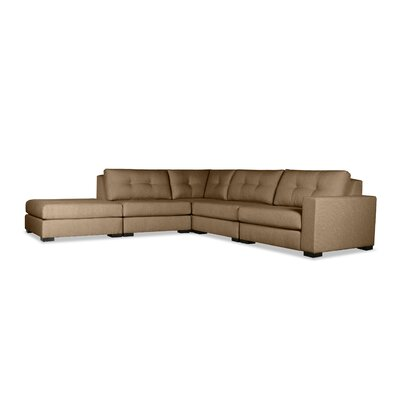 Brose Buttoned Modular Sectional with Ottoman Upholstery: Brown, Orientation: Right Hand Facing