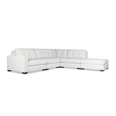 Brose Buttoned Modular Sectional with Ottoman Upholstery: White, Orientation: Left Hand Facing