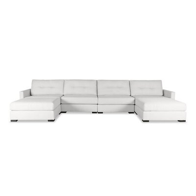 Secrest Buttoned U-Shape Double Chase Modular Sectional Upholstery: White