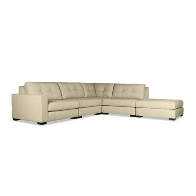 Brose Buttoned Modular Sectional with Ottoman Upholstery: Sand, Orientation: Left Hand Facing