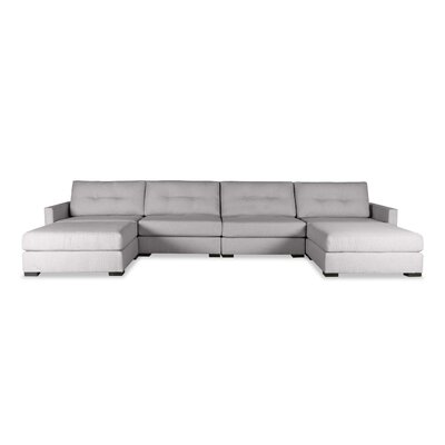 Secrest Buttoned U-Shape Double Chase Modular Sectional Upholstery: Gray
