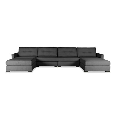 Secrest Buttoned U-Shape Double Chase Modular Sectional Upholstery: Charcoal