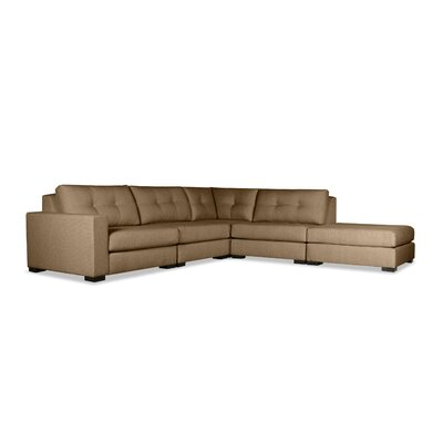 Brose Buttoned Modular Sectional with Ottoman Upholstery: Brown, Orientation: Left Hand Facing
