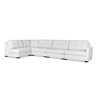 Secrest Buttoned Left L-Shape Modular Sectional Upholstery: White
