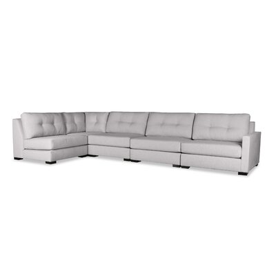 Secrest Buttoned Left L-Shape Modular Sectional Upholstery: Gray
