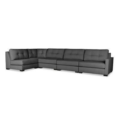 Secrest Buttoned Left L-Shape Modular Sectional Upholstery: Charcoal