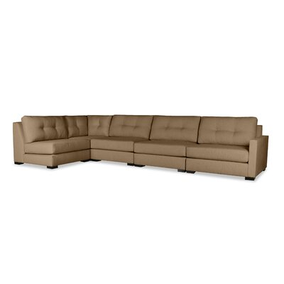 Secrest Buttoned Left L-Shape Modular Sectional Upholstery: Brown