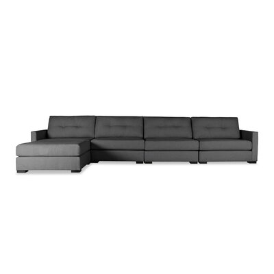 Secrest Buttoned Chaise Modular Sectional Upholstery: Charcoal, Orientation: Right Hand Facing