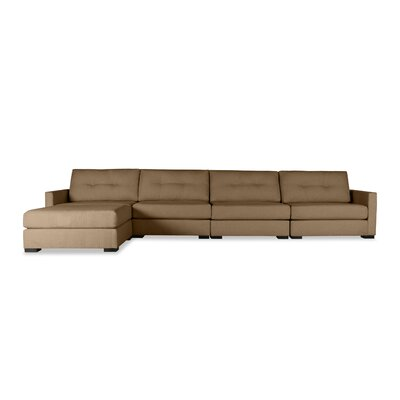 Secrest Buttoned Chaise Modular Sectional Upholstery: Brown, Orientation: Right Hand Facing