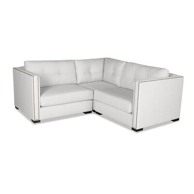 Timpson Buttoned Right and Left Arms L-Shape Mini Modular Sectional Upholstery: White