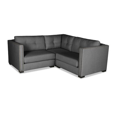 Timpson Buttoned Right and Left Arms L-Shape Mini Modular Sectional Upholstery: Charcoal