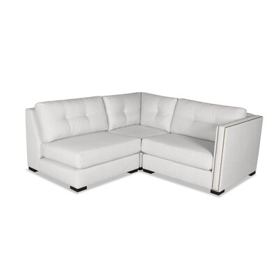Timpson Buttoned L-Shape Mini Modular Sectional Upholstery: White, Orientation: Right Hand Facing