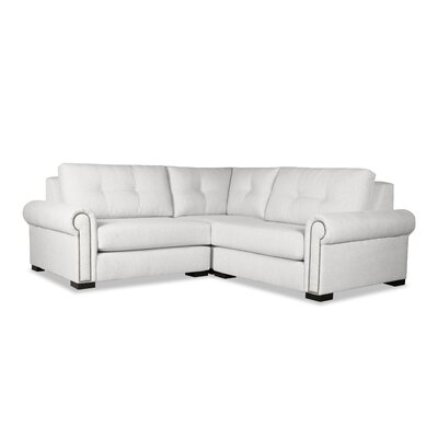 Lebanon Buttoned Right and Left Arms L-Shape Mini Modular Sectional Upholstery: White