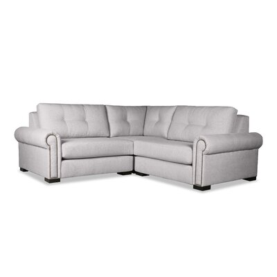 Lebanon Buttoned Right and Left Arms L-Shape Mini Modular Sectional Upholstery: Gray