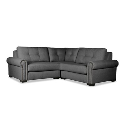 Lebanon Buttoned Right and Left Arms L-Shape Mini Modular Sectional Upholstery: Charcoal