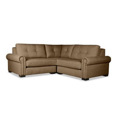 Lebanon Buttoned Right and Left Arms L-Shape Mini Modular Sectional Upholstery: Brown