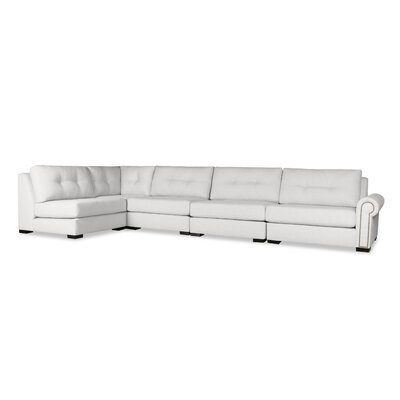 Lebanon Buttoned Left L-Shape Modular Sectional Upholstery: White